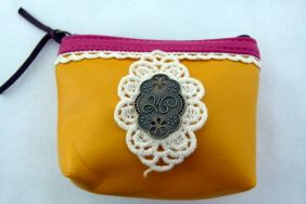 Zakka Style Small PU Zip Pouch/Coin Purse - Yellow with Lace