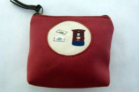 Zakka Style Small Velveteen Zip Pouch/Coin Purse - Apple Red Postbox