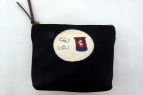 Zakka Style Small Velveteen Zip Pouch/Coin Purse - Black Postbox