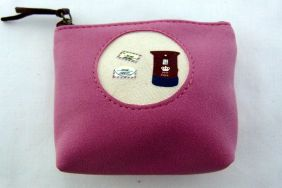Zakka Style Small Velveteen Zip Pouch/Coin Purse - Purple Postbox