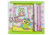 Cute Owl Pen and Notebook with Lock in box Stationery Set (Green)